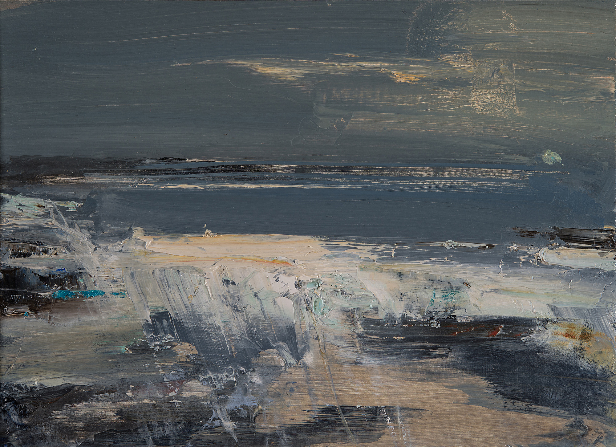 Storm Greys,Gwithian.  Oil on board.22 x 31cm  Sold