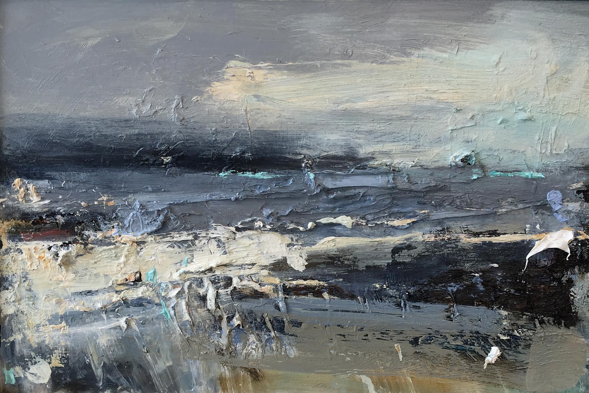 Winter Greys,Sennen.  Oil on board. 20 x 30cm  Sold