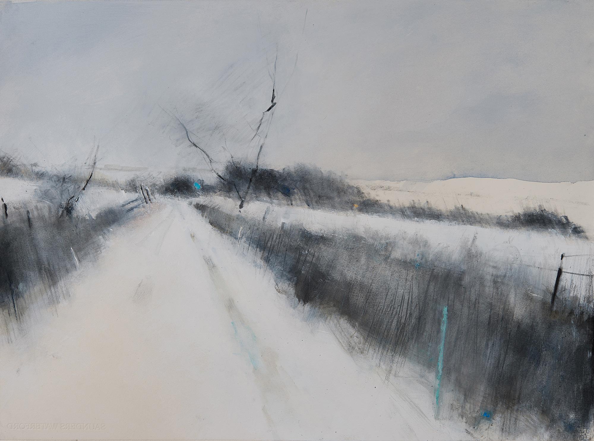 Winter Road.  Graphite,watercolour,oil and gesso on paper.57 x 77cm  Sold