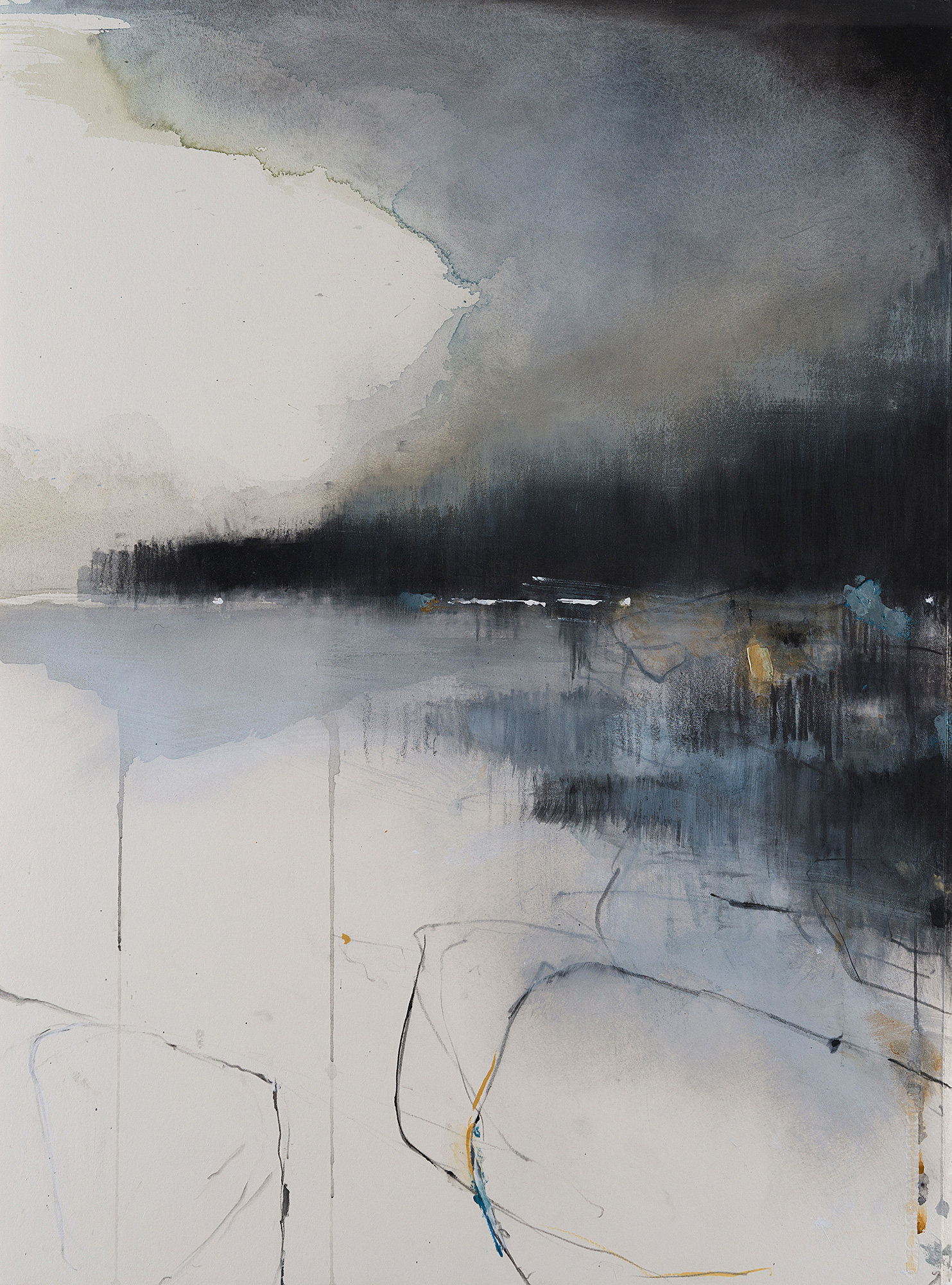 Early Autumn Mists on the Headland. Mixed media on paper 77 x 57cm  Sold
