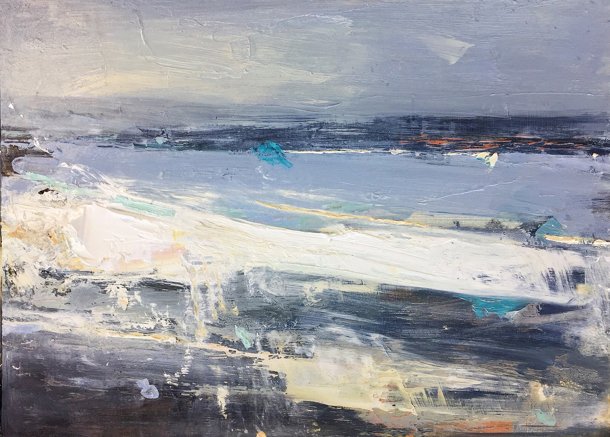 High Winds, Gwithian.  23 x 31cm. Oil on board  Sold