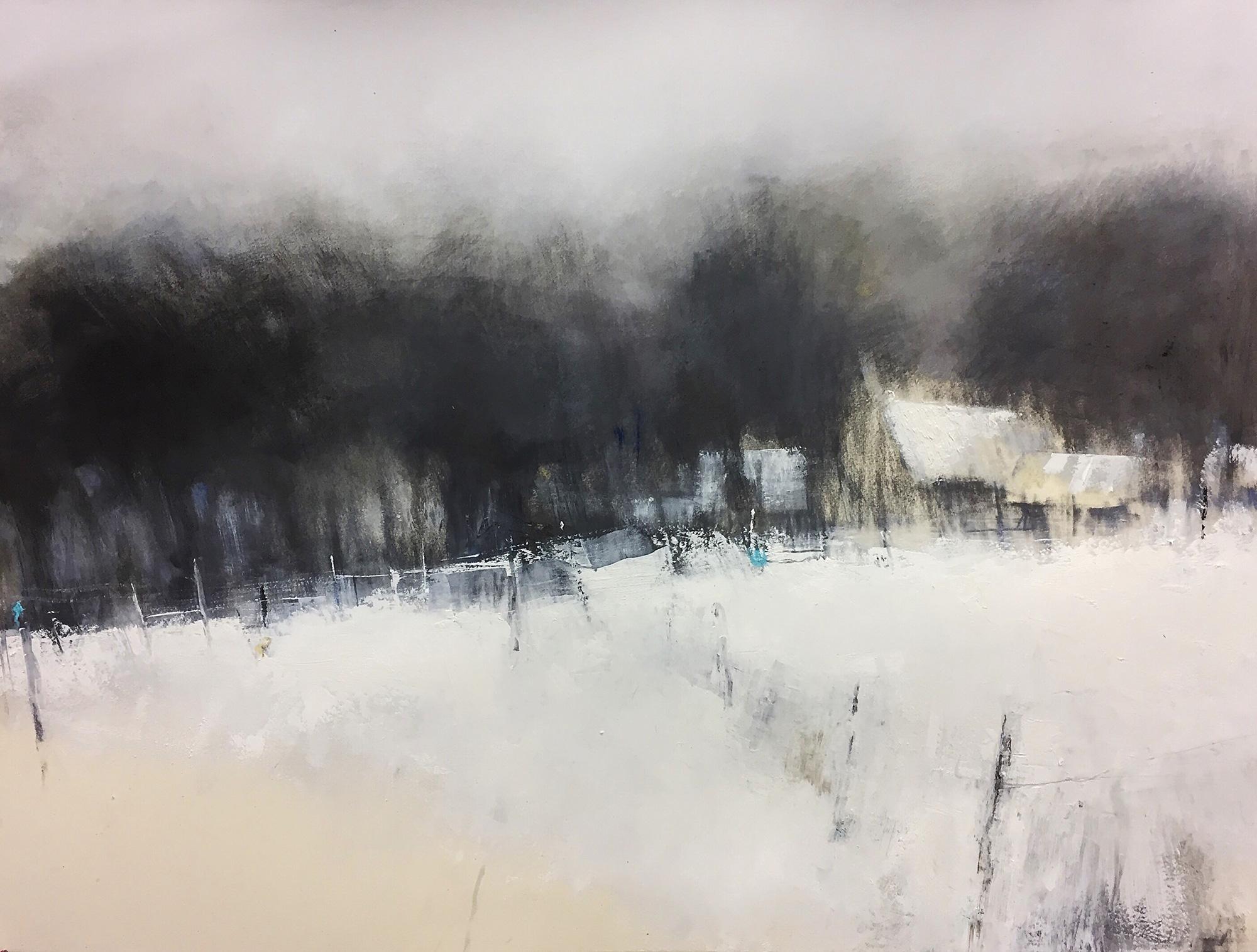 Winter Copse.  Graphite, oils, gesso on paper.  Sold