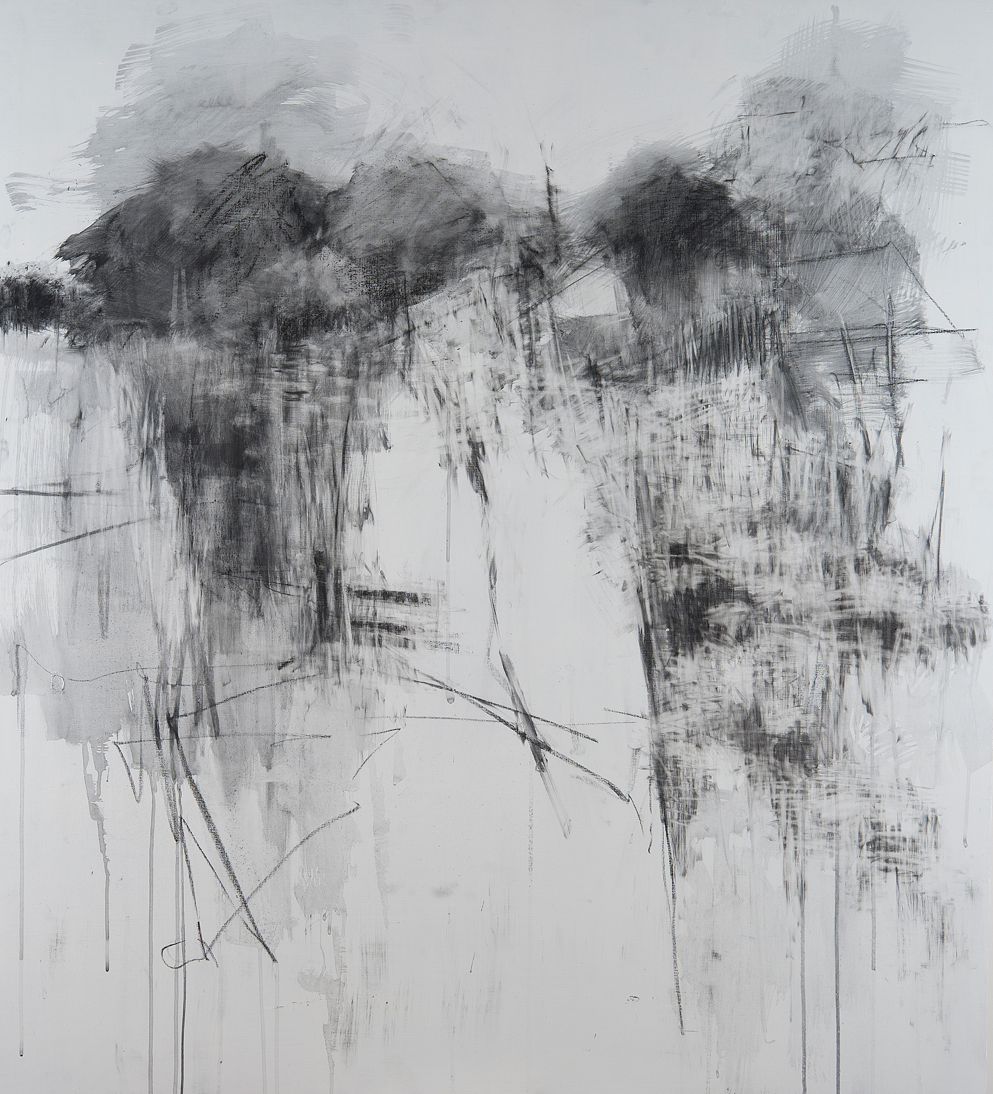 Kestle Gardens, Merging II.  Graphite and gesso on board. 122 x 110cm  NFS