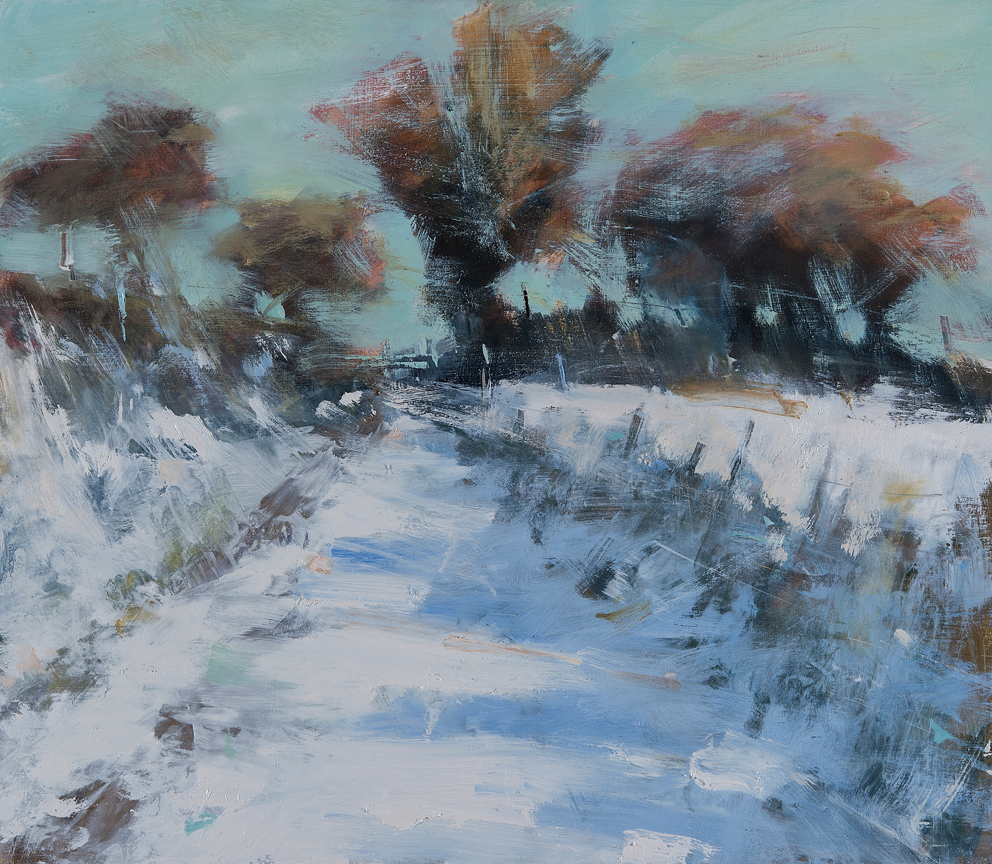 Moorland Snowfall.  Oil on board. 57 x 65cm  Sold