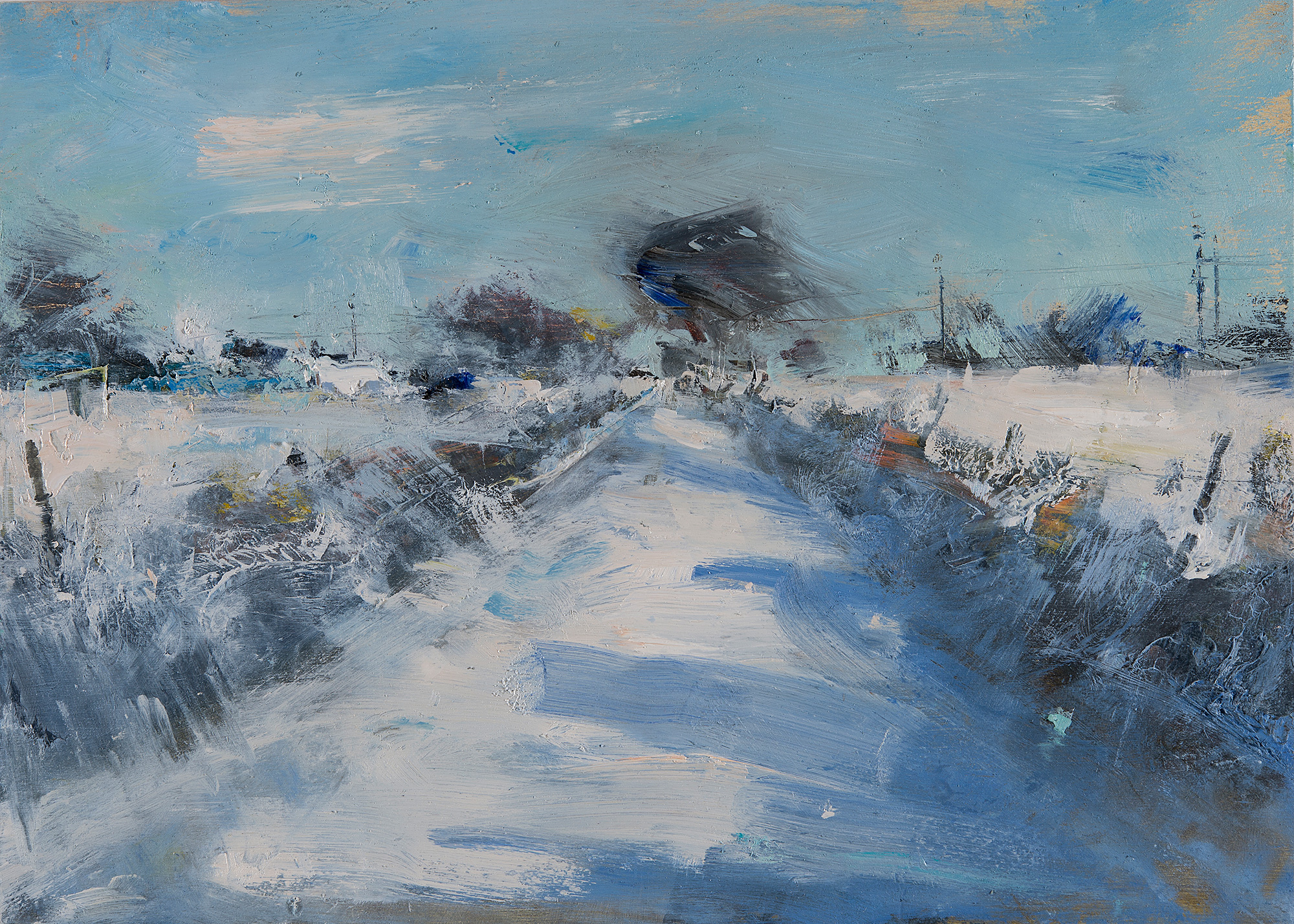 Snow Undisturbed, Cornish Lane.  Oil on board. 25 x 35cm  Sold