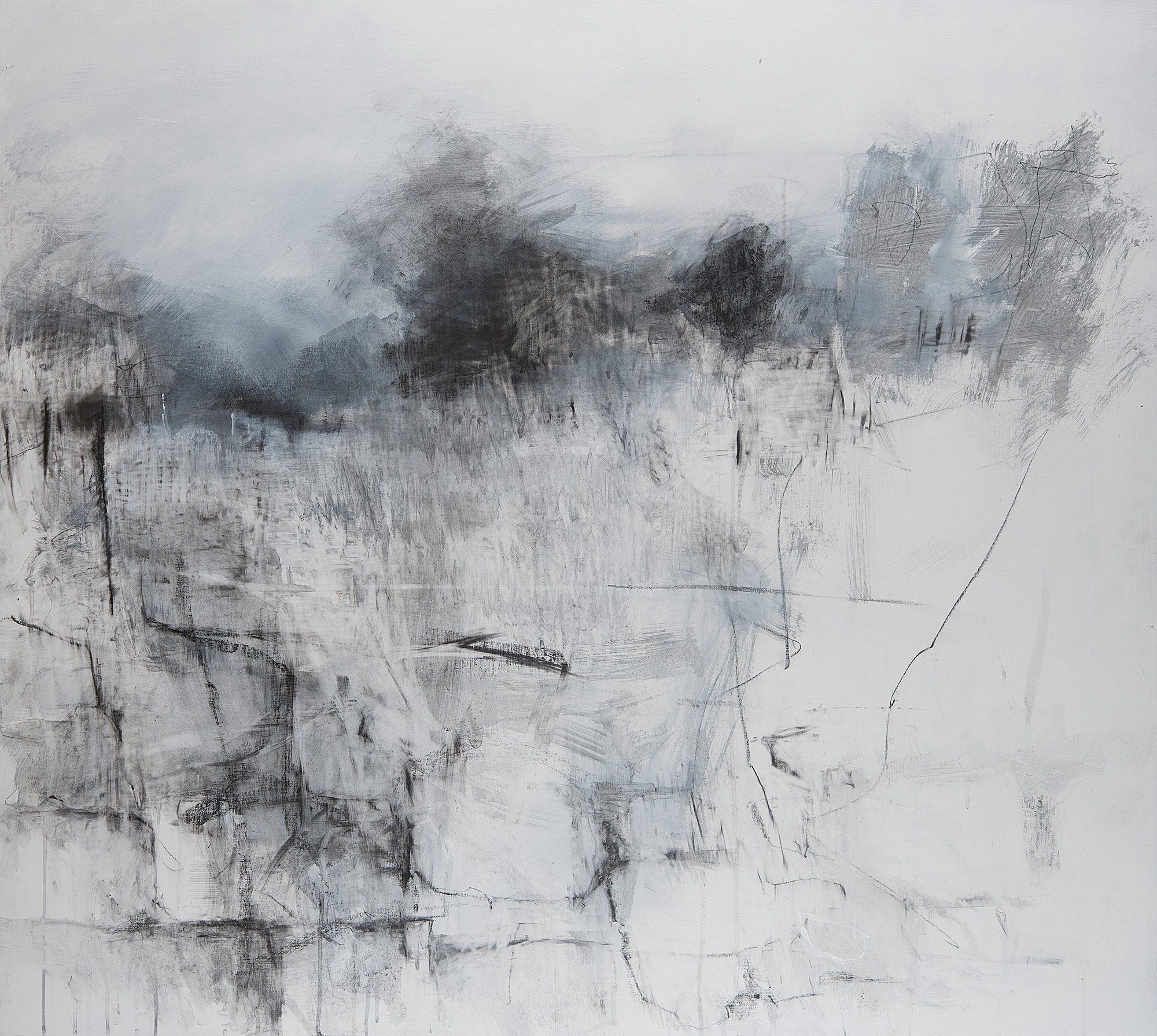 Stone Wall to Kestle Gardens.  Graphite and gesso on board. 110 x122cm  Sold