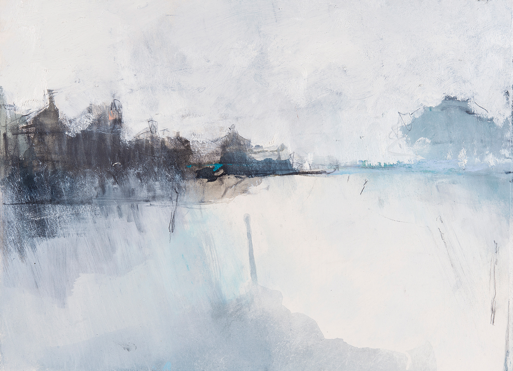 Winter Reflected.  Graphite, watercolour, oil and gesso on paper. 28 x 38cm  Sold