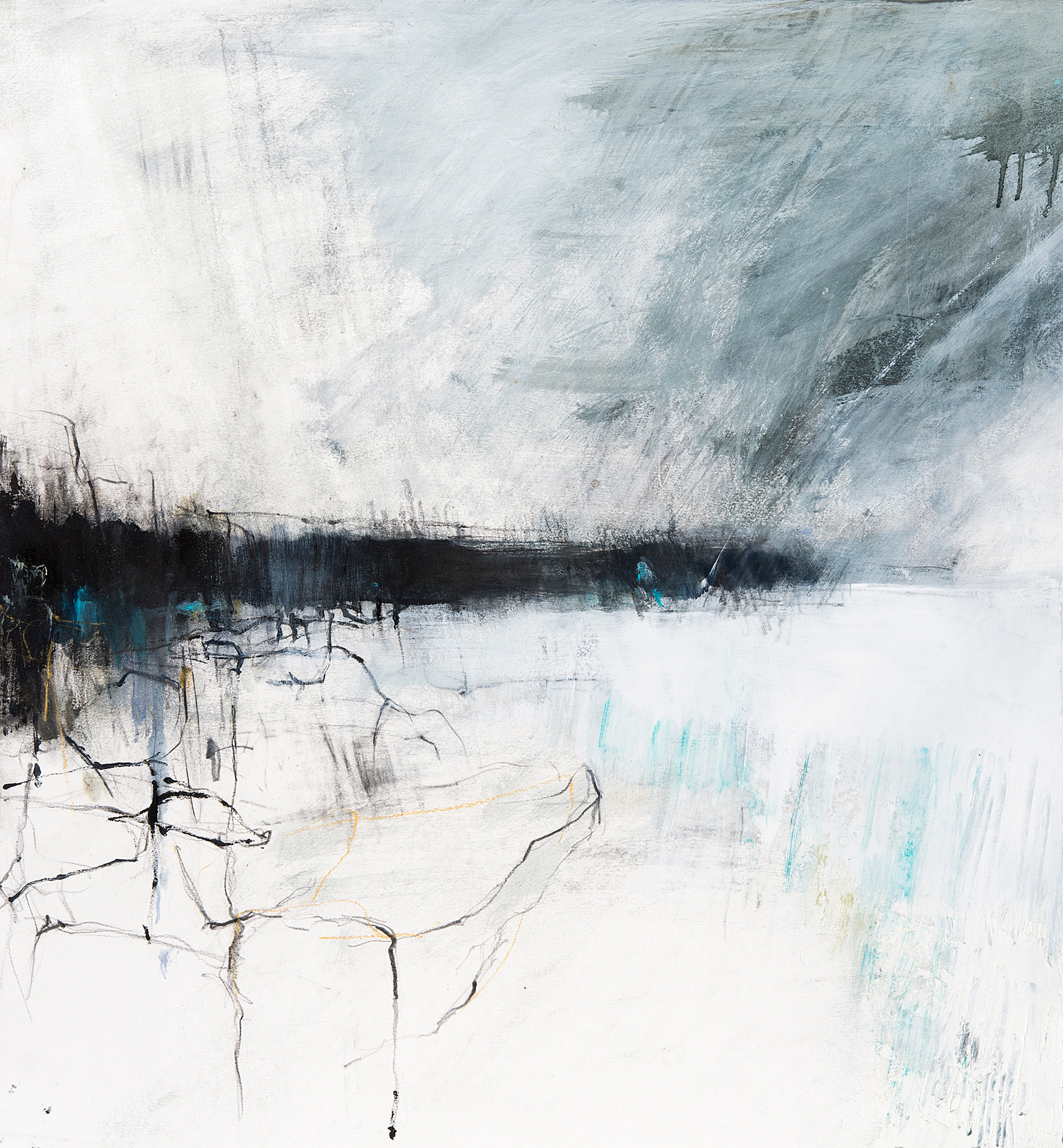 Shoreline I.  Oil, pencil and gesso on paper. 61 x 56cm  Sold