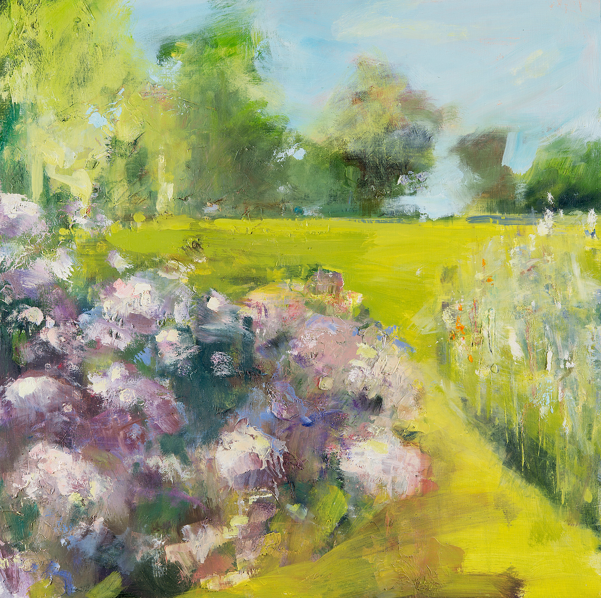 Hydrangeas, High Summer.  Oil on board. 60 x 60cm  Sold