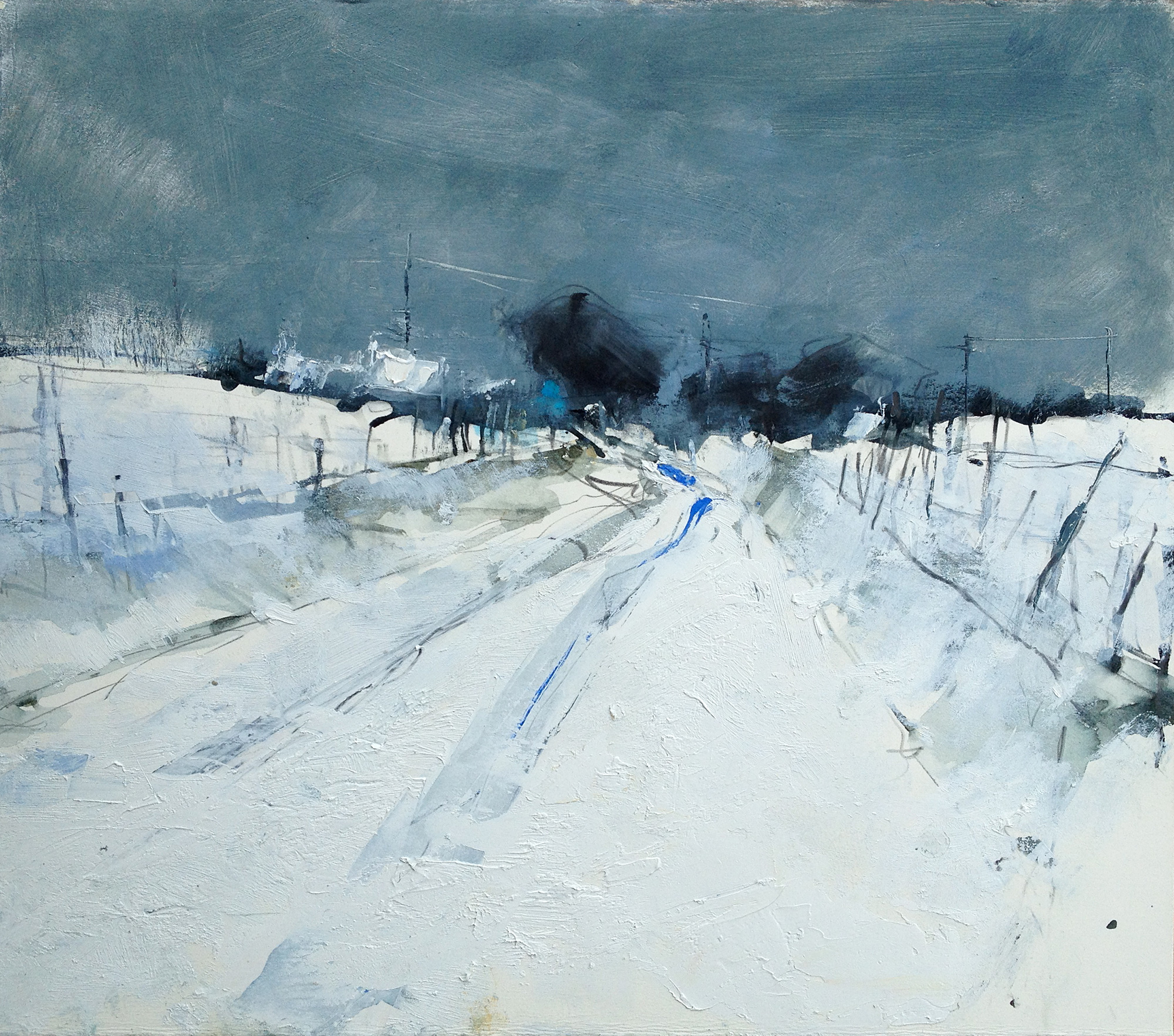 Snow Study, Cornish Farm.  Graphite, oil, watercolour and gesso on paper. 39 x 44cm  Sold