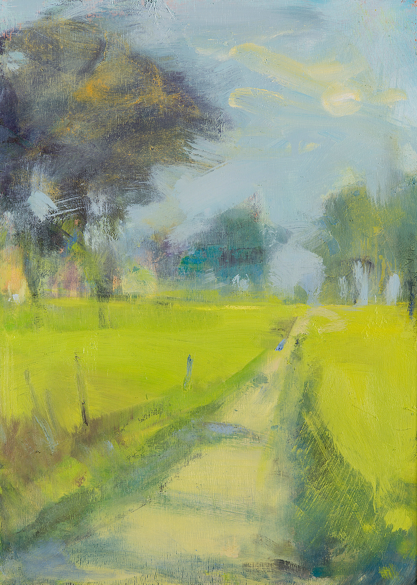 Sunny Path through the Trees.  Oil on board. 35 x 25cm  Sold