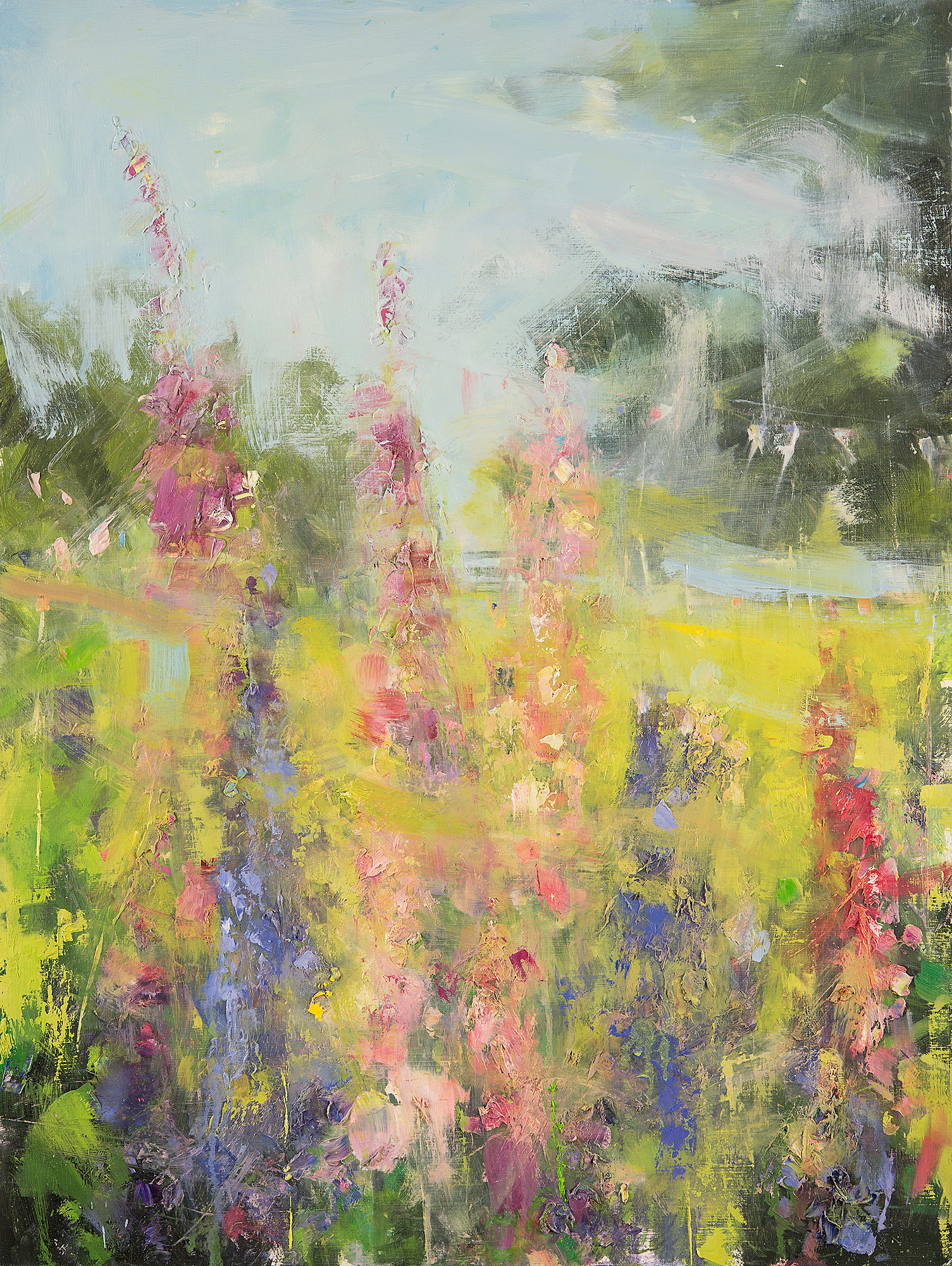 Lupins and Foxgloves.  Oil on board. 80 x 60cm  Sold