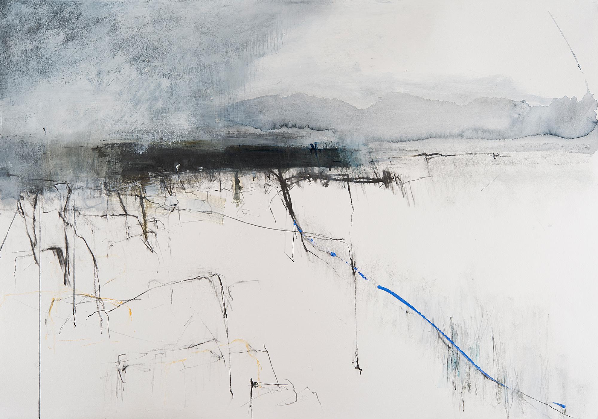 Shoreline.  Pencil, oil and gesso on paper. 70 x 75cm  Sold