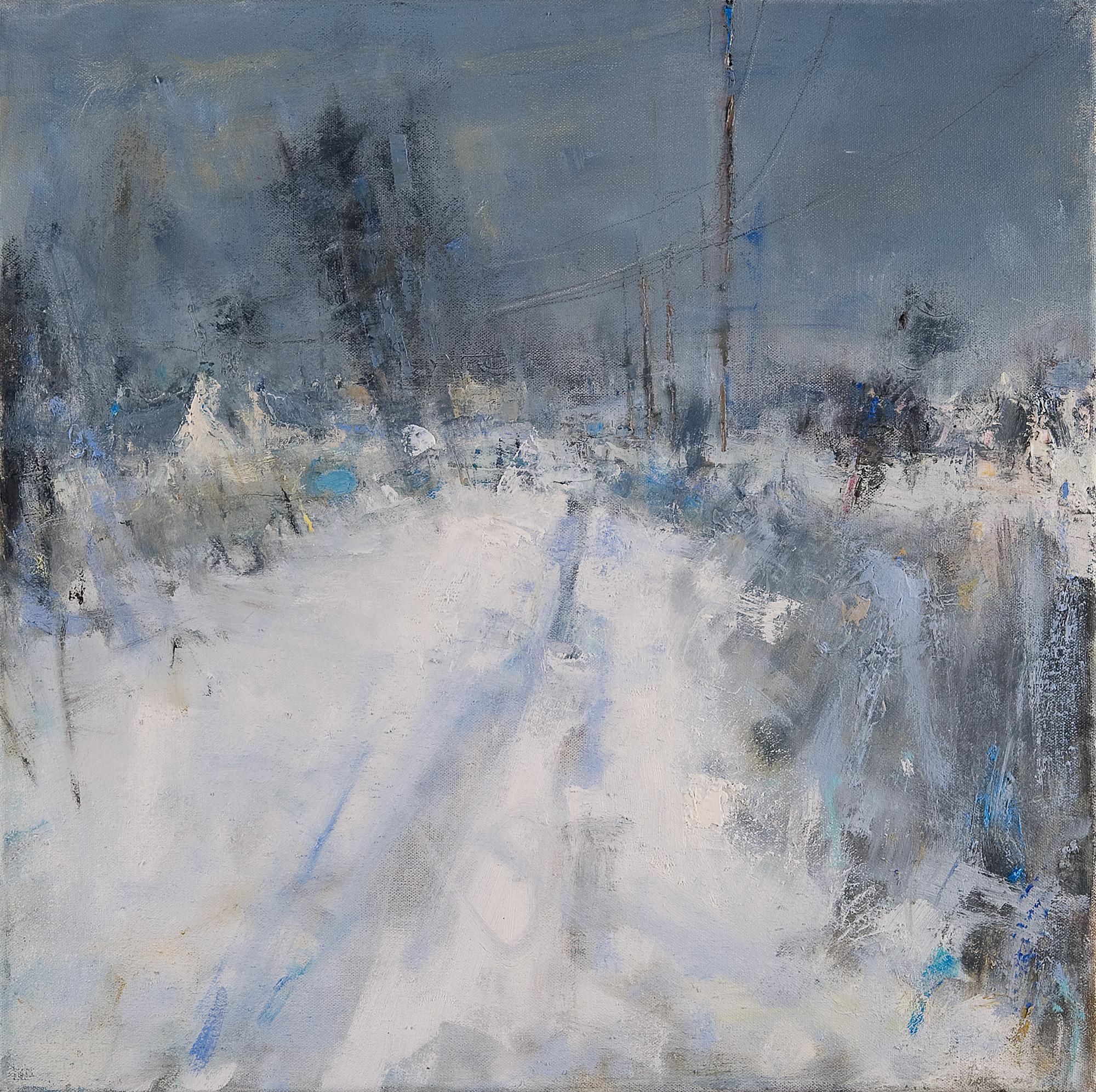 Blue Winter, Cornish Snow.  Oil on canvas. 45 x 45cm.  Sold