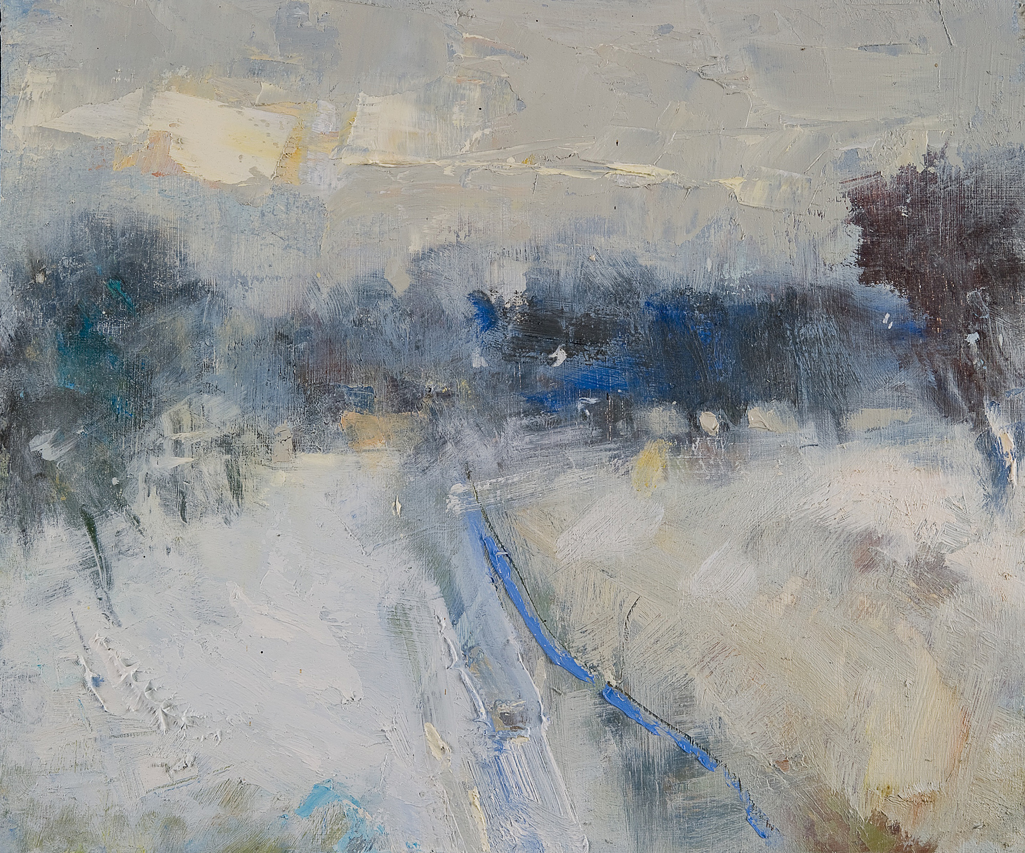 Frozen Winter.  Oil on board. 24 x 30cm.  Sold