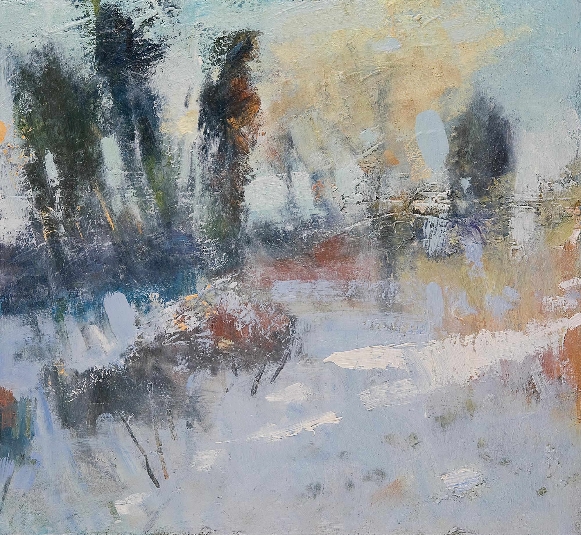 Sunlight on Snow, Cornish Garden.  Oil on board. 45 x 50cm.  NFS