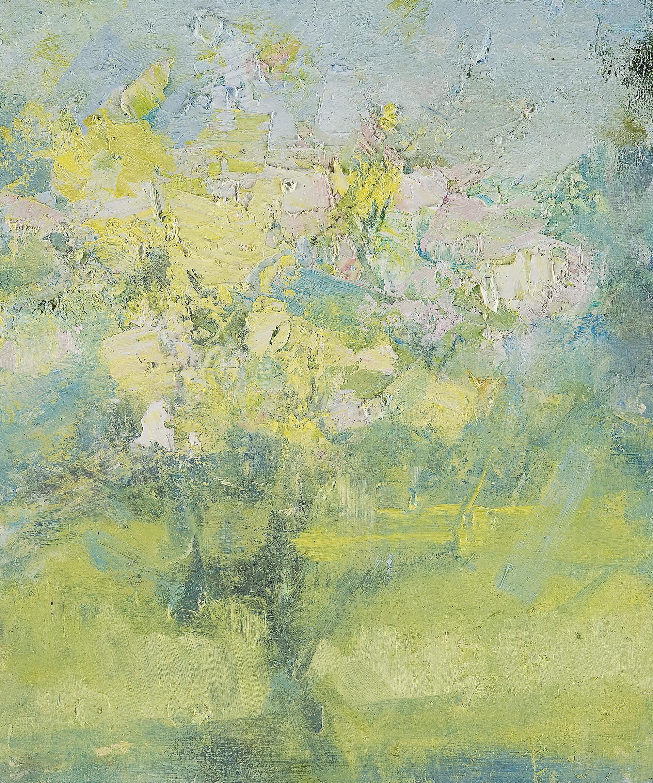 Study in a Cornish Garden I (Triptych).  Oil on board. 30 x 25cm.  Sold