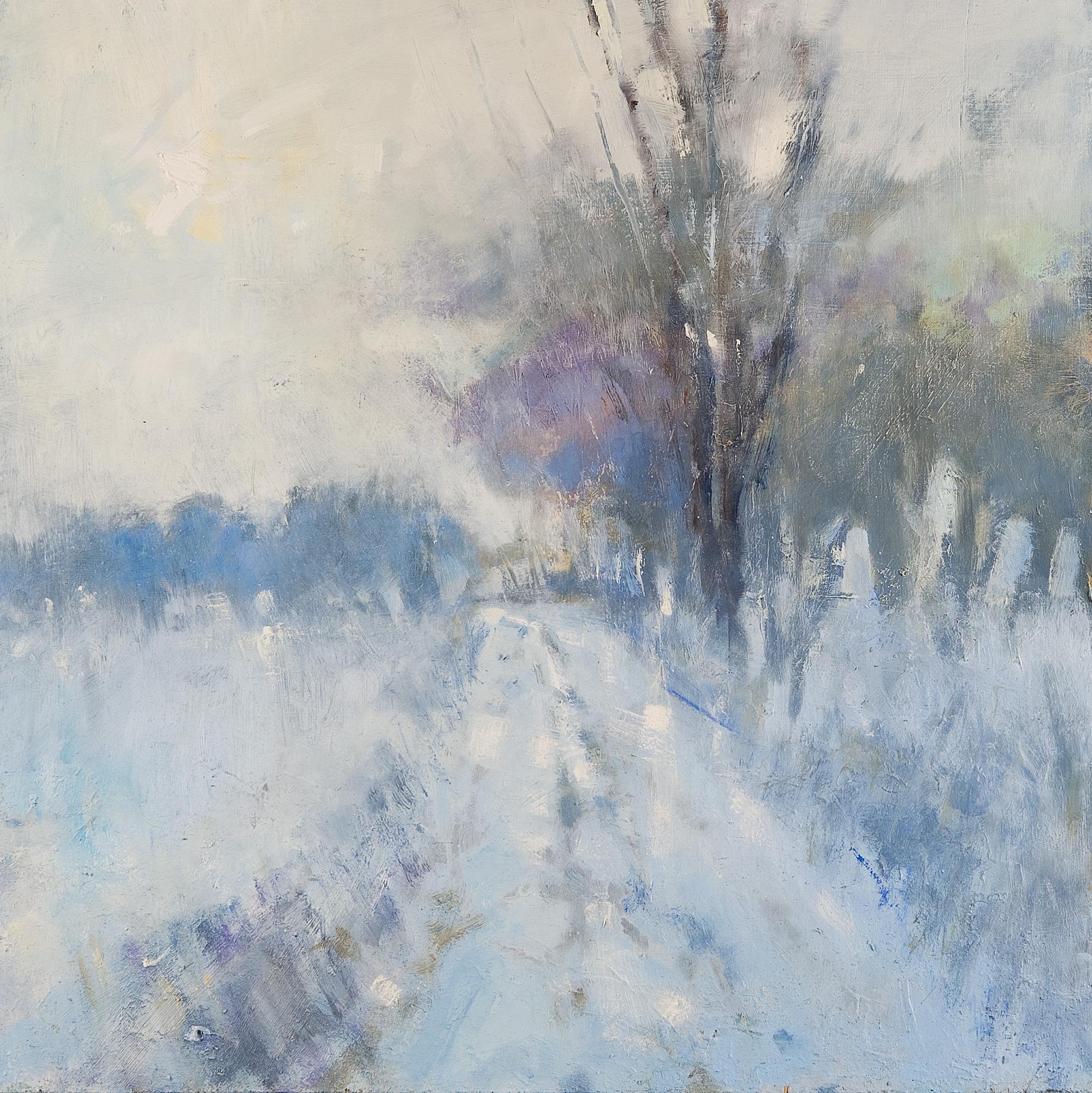 Winter Road, Broken Sunlight.  Oil on board. 61 x 61cm.  Sold
