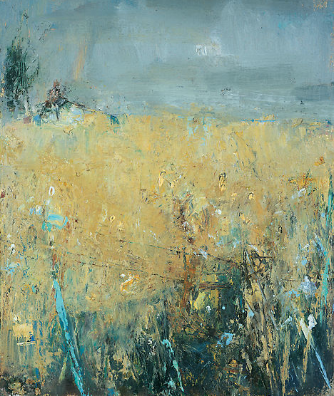 Field from the Studio, Rain Coming.  Oil on board. 25 x 21cm  Sold