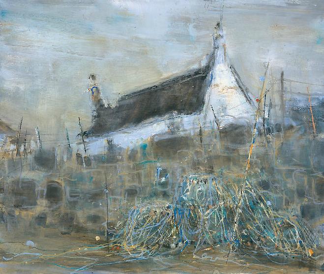 Study, Harbour Wall, Sennen.  Oil on board. 50 x 61cm.  Sold