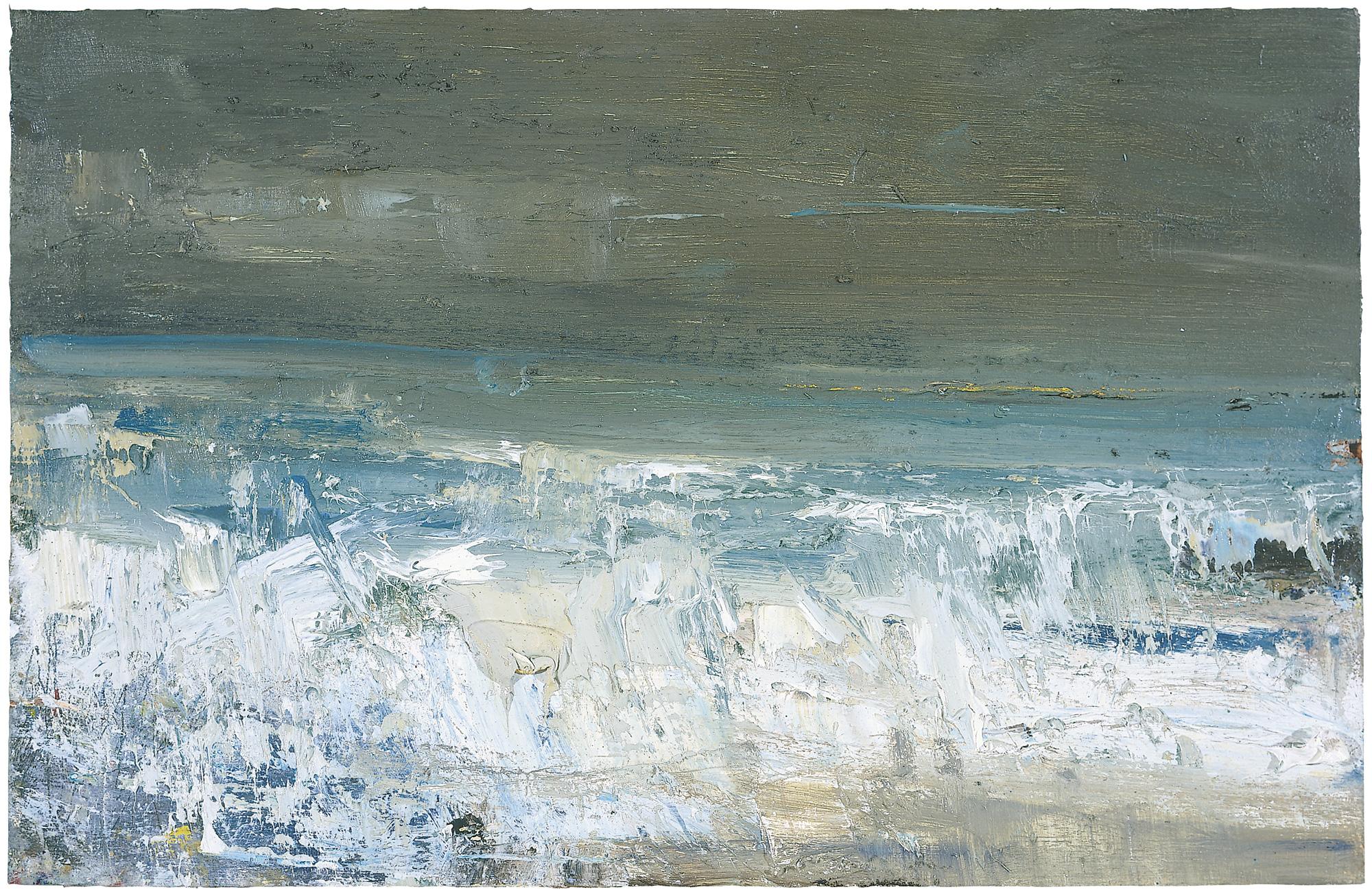 Storm Green Seas.  Oil on Board. 24 x 37 cm.  Sold