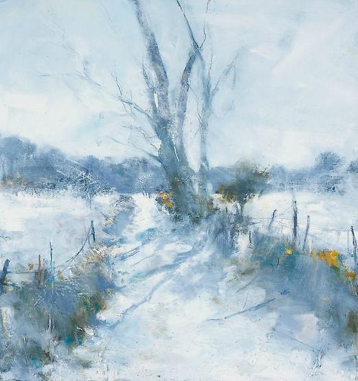 Dartmoor Lane, Winter Sun.  Oil on board. 55 x 52cm  Sold