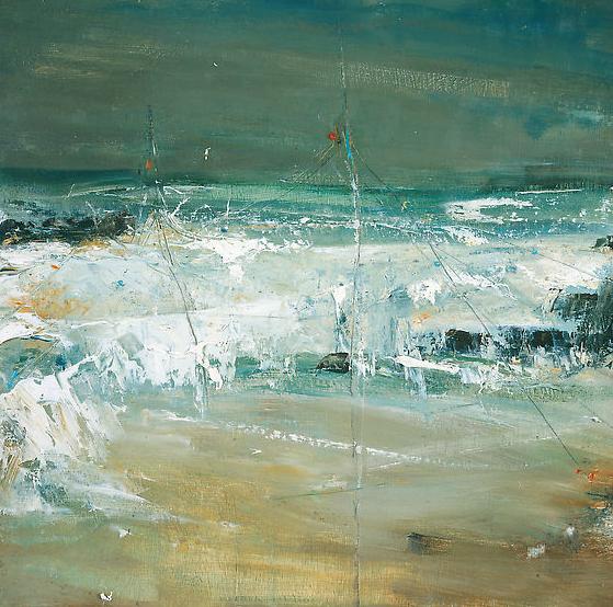 Fishing Posts, Sennen Beach.  Oil on board. 40 x 40cm  Sold