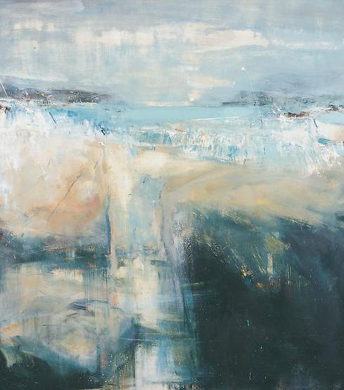 Rock Pools, Sennen Cove.  Oil on board. 102 x 90 cm  Sold