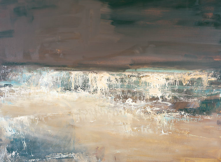 Sea Spilling Over Rocks, Gwithian.  Oil on board. 90 x 122cm  Sold