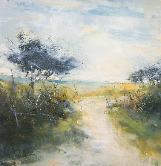 Spring Breeze on a Cornish Lane . Oil on board. 40 x 39cm  Sold