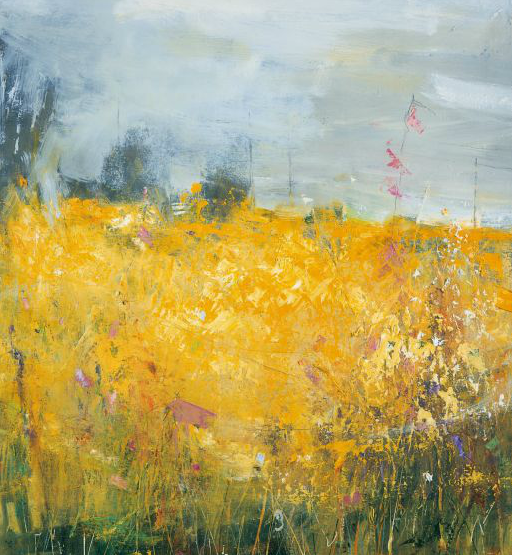 Spring Meadow, Strong Breeze.  Oil on board. 69 x 64cm  Sold
