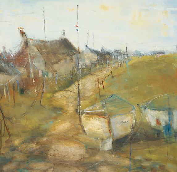 Study for a Cornish Cove, Gold Light.  Oil on board. 47 x 48cm  Sold