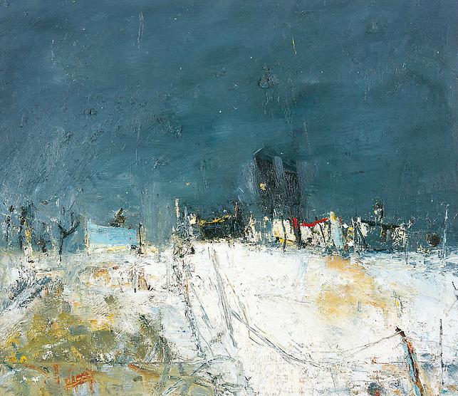 Cornish Village in Winter.  Oil on board. 35 x 40cm  Sold