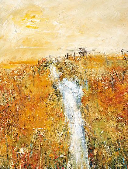 Dartmoor Stream, Autumn.  Oil on board. 52 x 40cm  Sold