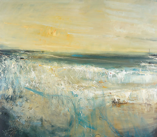 Evening Waves, Gwithian.  Oil on board. 120 x 137cm  Sold