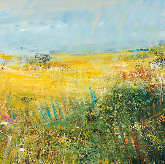 Fields and Broken Fence, Sea Beyond, Gwithian.  Oil on board. 100 x 100cm  Sold