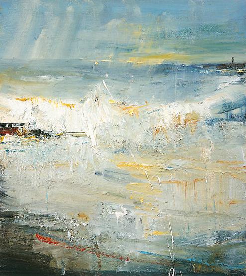 Last Light, Gwithian Beach.  Oil on board. 50 x 45cm  Sold
