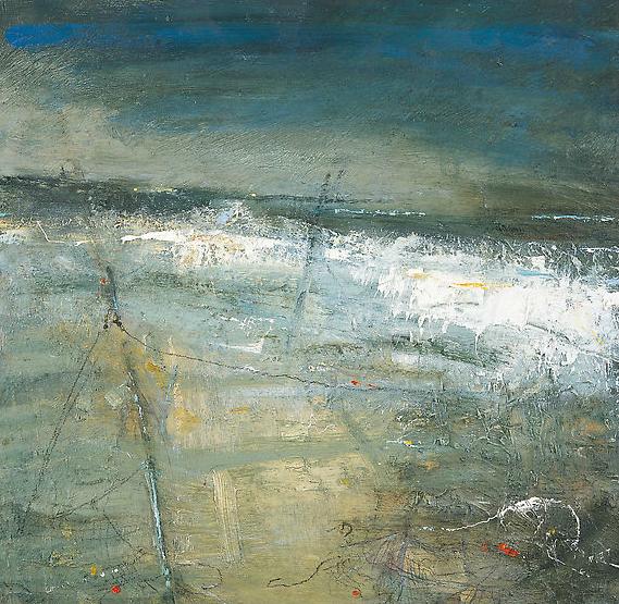 Sennen Beach, Evening, Fishing Detritus.  Oil on board. 36 x 36cm  Sold