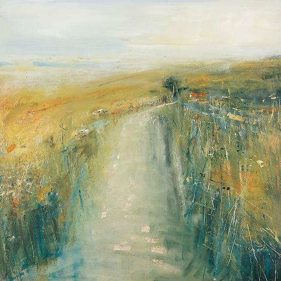 Spring Haze, Cornish Lane.  Oil on board. 74 x 74cm  Sold