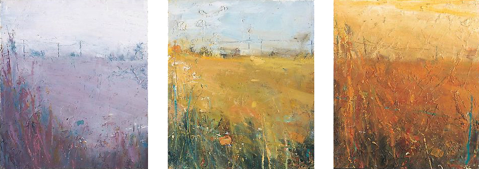 Distant farm, Road to Portyhgwarra.  Early Morning, Afternoon and Early Evening (Triptych). Oil on board. 27 x 23cm each  Sold