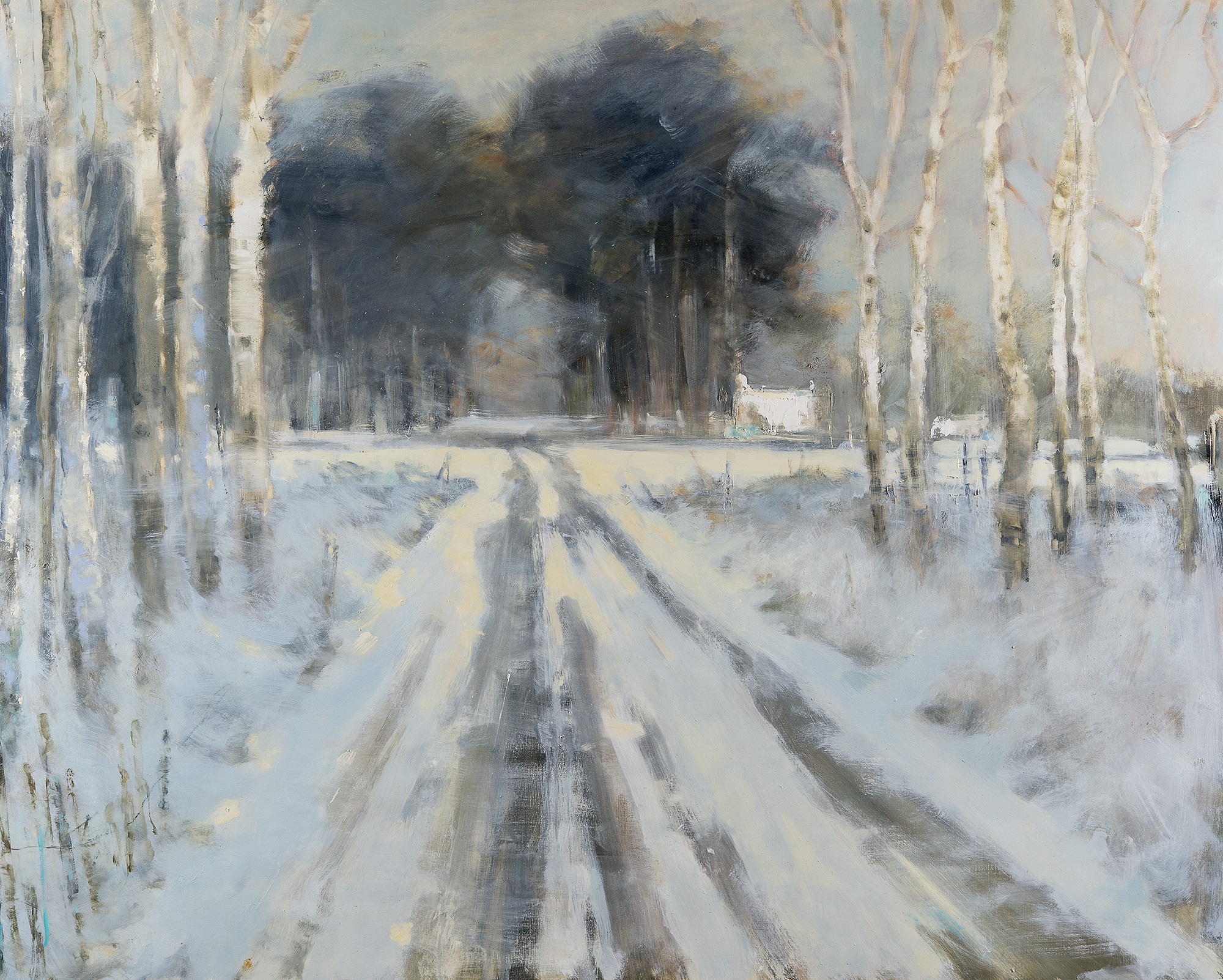 Broken Light and Birch Trees, Winter Moorland Road.  Oil on board. 120 x 150cm  Sold