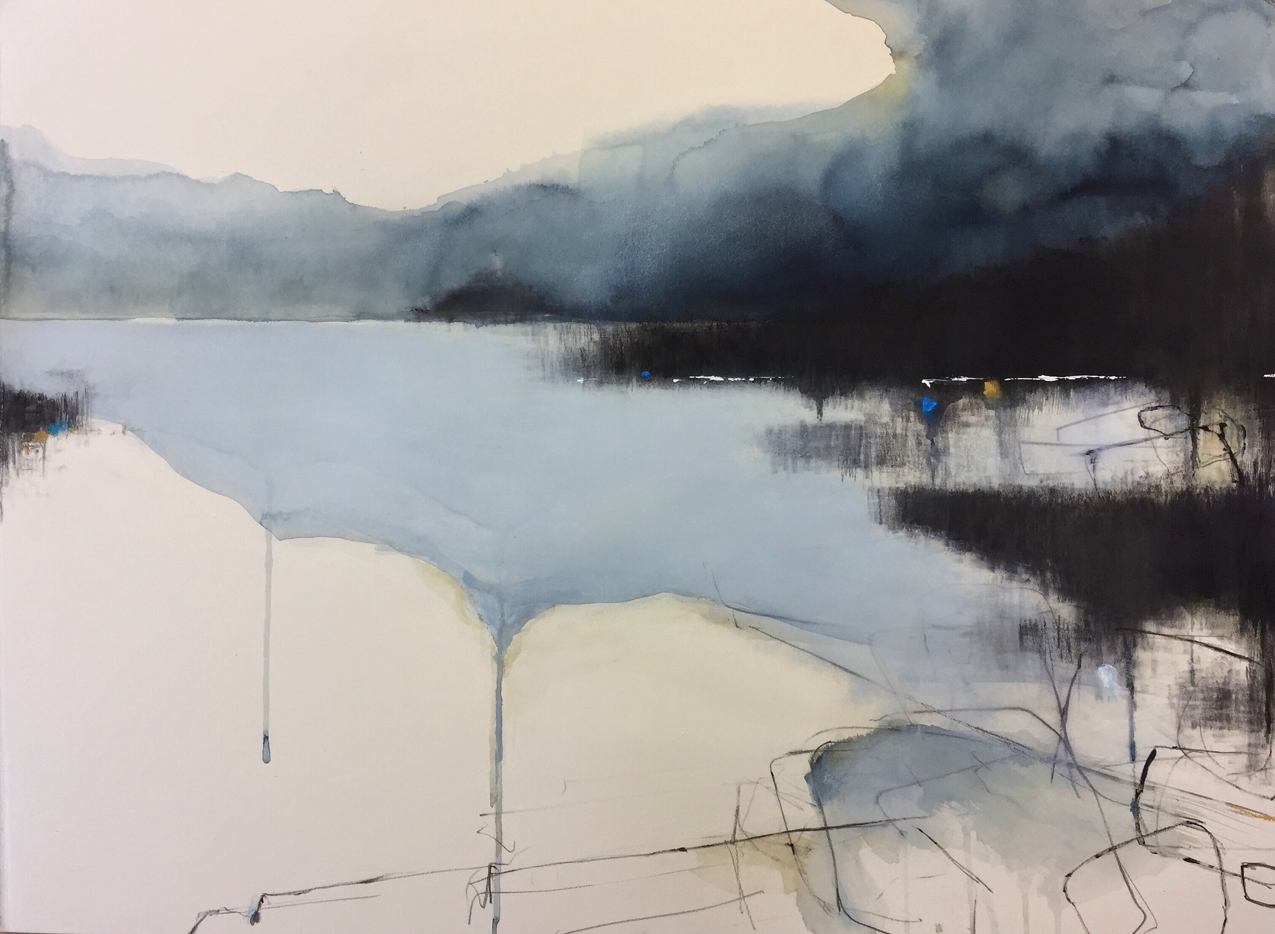 Godrevy Blue.  57 x 77cm. Graphite, oil, watercolour, gesso on paper  Sold