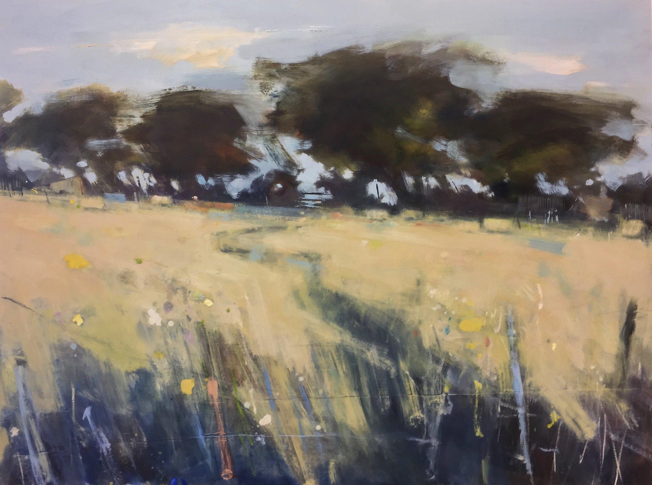 Path through the Wheatfield.  122 x 160cm. Oil on board  Sold