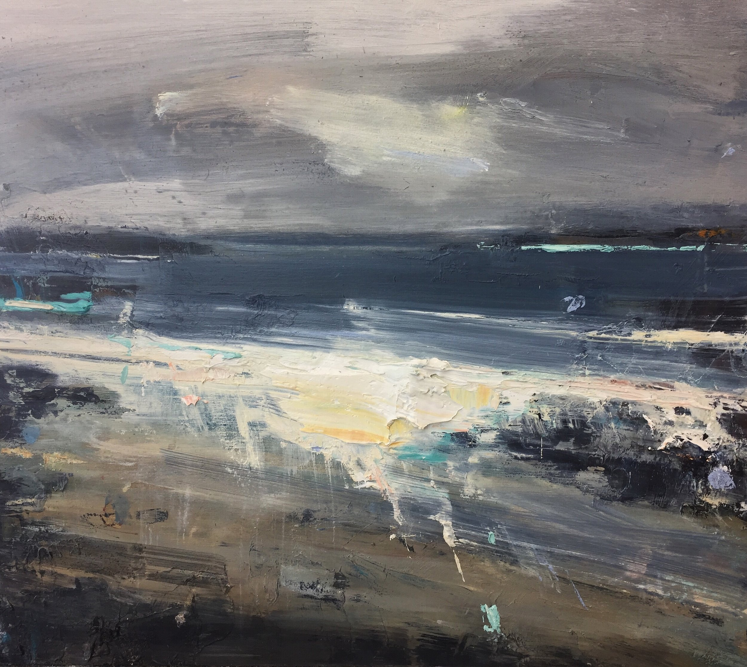Wild Winds, Sennen.  35 x 40cm. Oil on board  Sold