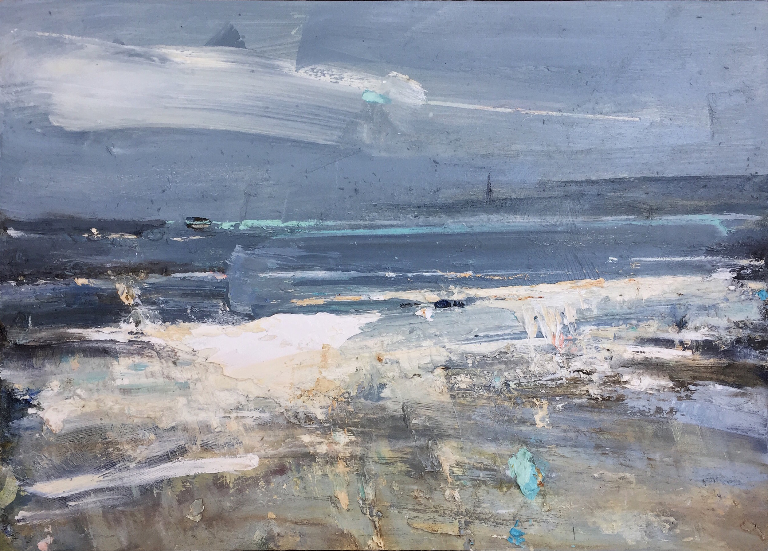Marching Tides, Godrevy.  25 x 35cm. Oil on board  Sold