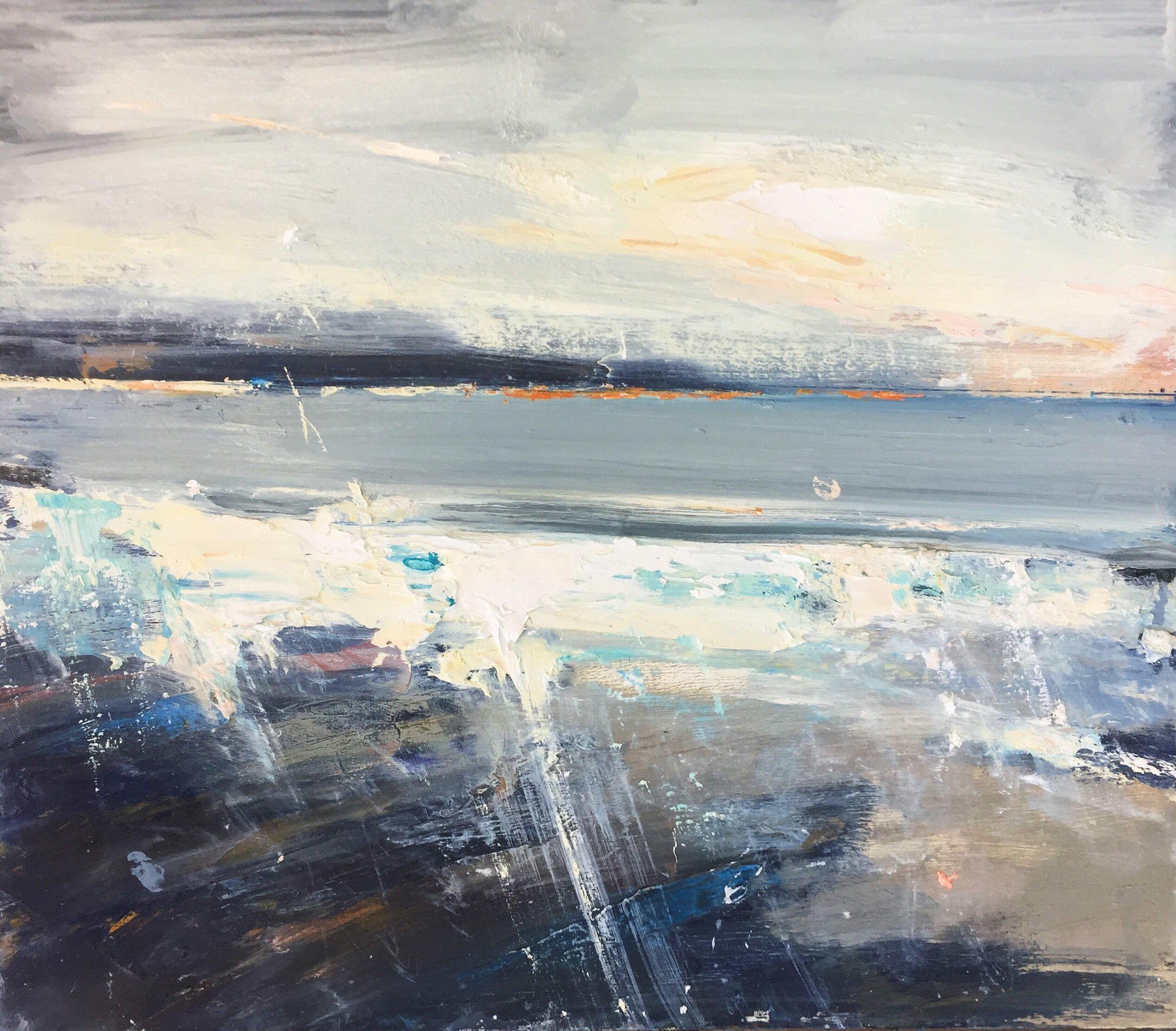 Pale Grey Seas, Sennen.  35 x 40cm. Oil on board  Sold