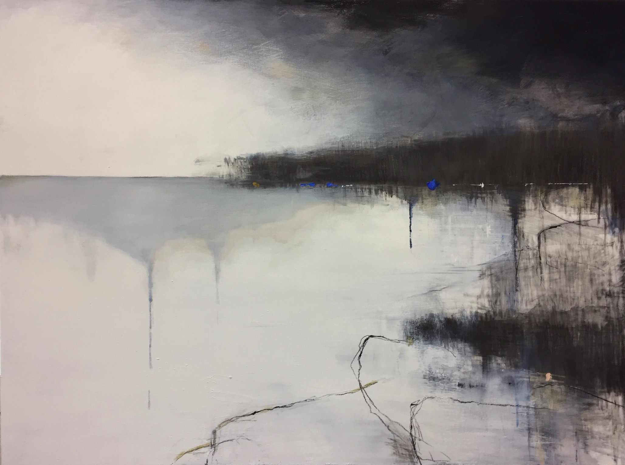 Rock Pools.  90 x 120cm. Graphite, oil and gesso on board  Sold