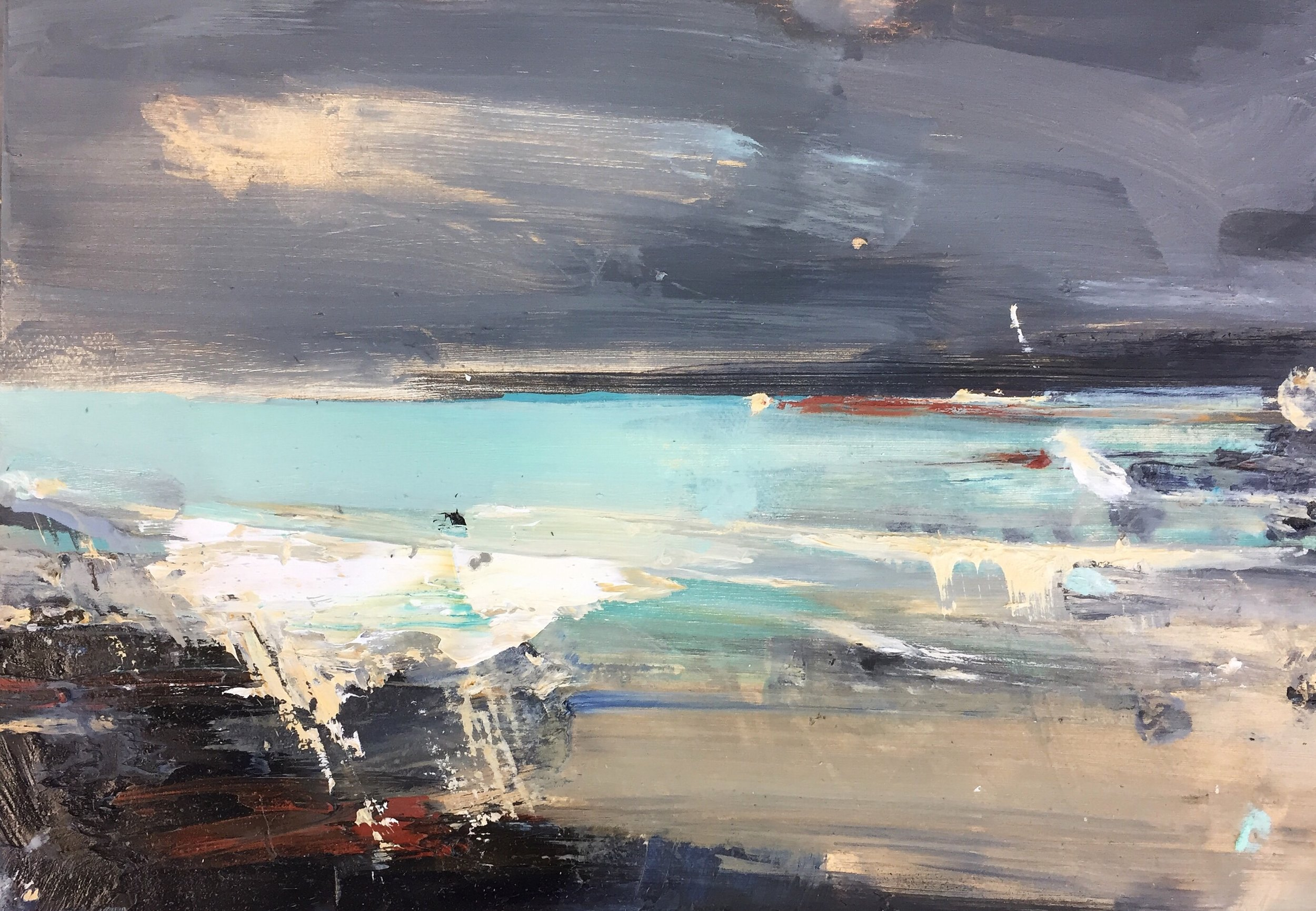 Light of the Storm, Sennen.  20 x 30cm. Oil on board  Sold