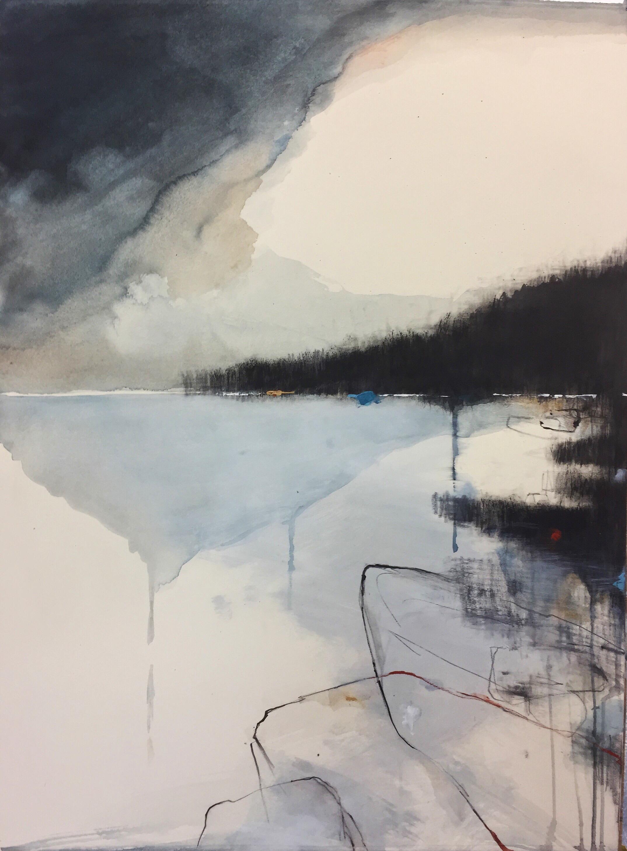 Indigo Clouds, Sennen.  77 x 57cm. Graphite, oil, watercolour and gesso on paper.  Sold
