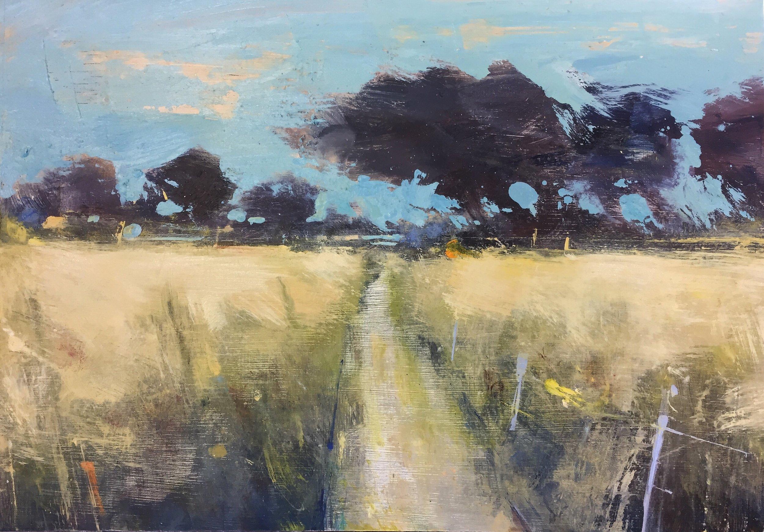 Summer Fields near Tremenheere.  22 x 30cm. Oil on board  Sold